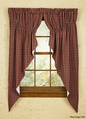 Sturbridge Wine Lined Prairie Curtains 63""