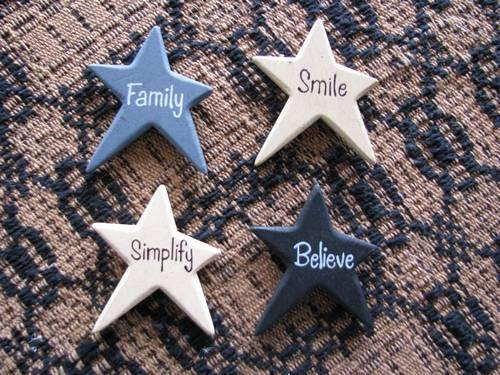 Vintage Wood Star Magnets - Set of 4 - Primitive Star Quilt Shop