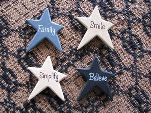 Vintage Wood Star Magnets - Set of 4