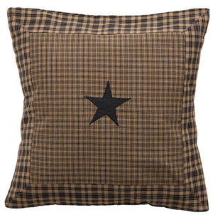 "Vintage Star Black Fabric Pillow 16"" Filled"