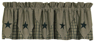 Vintage Star Black Pointed Lined Valance 60""