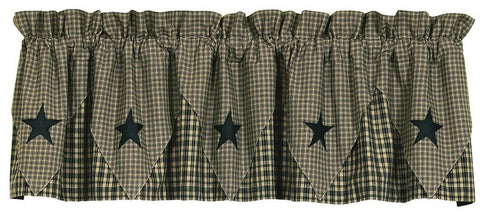 Vintage Star Black Pointed Lined Valance