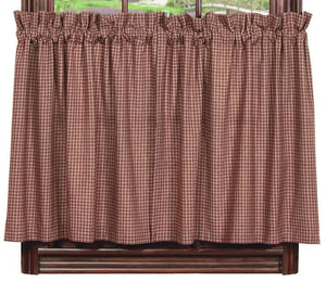 Vintage Star Wine Lined Tier Curtains 24""