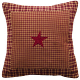 "Vintage Star Wine Fabric Pillow 16"" Filled - Primitive Star Quilt Shop"