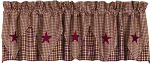 Vintage Star Wine Pointed Lined Valance 60""