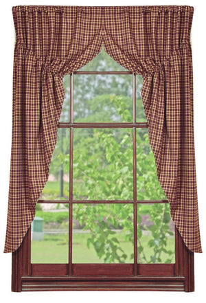 Vintage Star Wine Lined Prairie Curtains 63""