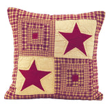 "Vintage Star Wine Quilted Pillow 16"" Filled - Primitive Star Quilt Shop"
