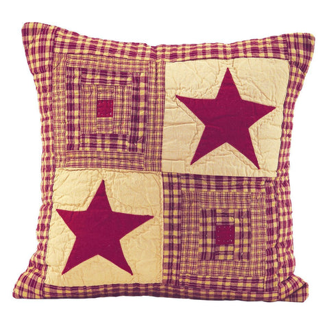 "Vintage Star Wine Quilted Pillow 16"" Filled"
