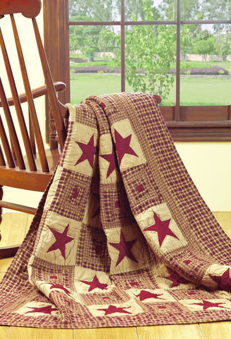 Vintage Star Wine Quilted Throw