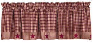 Vintage Star Wine Lined Valance 60""