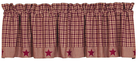 Vintage Star Wine Lined Valance