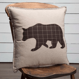 "Wyatt Bear Applique Pillow 18"" Filled - Primitive Star Quilt Shop"