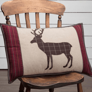 "Wyatt Deer Applique Pillow 14x22"" Filled"