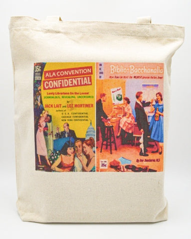 Librarian Pulp Fiction ALA Convention confidential Biblio Baccchanalia Tote bag Book bag