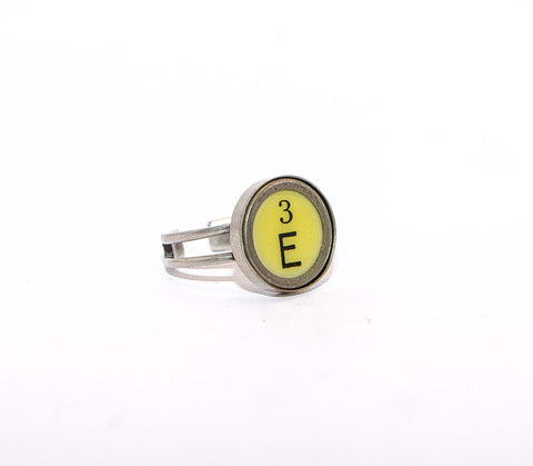 Vintage Authentic Typewriter Key Ring - letter E & number 3