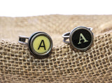 Vintage Authentic Typewriter Key Ring - Letter A black or ivory