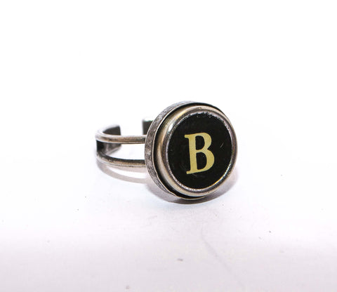 Vintage Authentic Typewriter Key Ring - letter B
