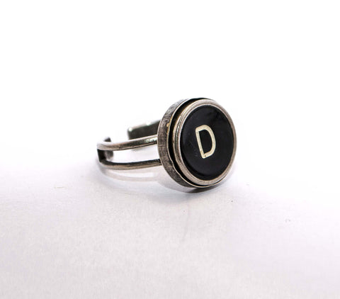 Vintage Authentic Typewriter Key Ring - letter D