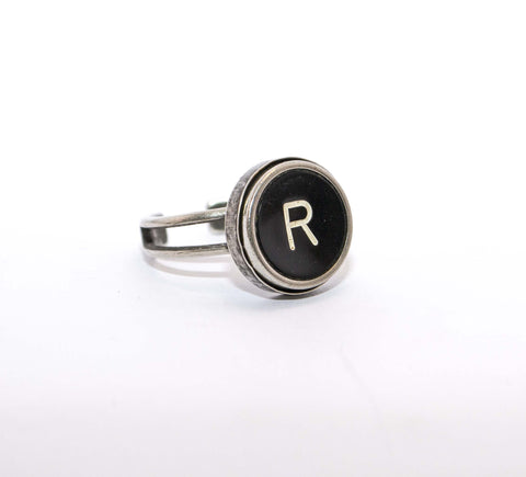 Vintage Authentic Typewriter Key Ring - Letter R