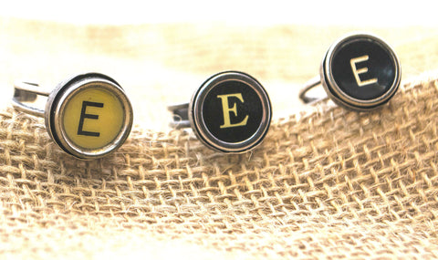 Vintage Authentic Typewriter Key Ring - Letter E