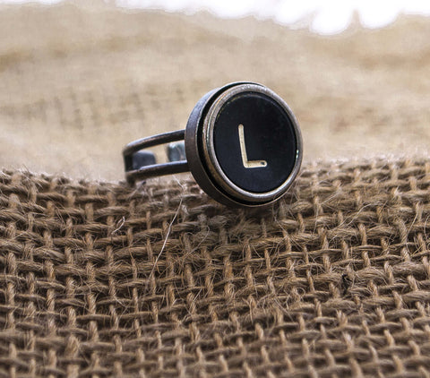 Vintage Authentic Typewriter Key Ring - Letter L