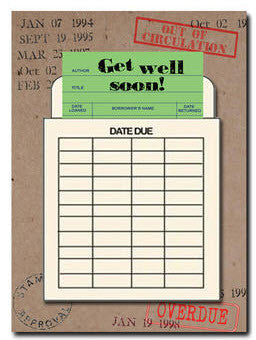 Get Well Soon Greeting Card. Library Card