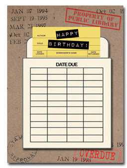 Happy birthday Greeting Card. Library Card