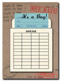 It's a Boy. Congratulations greeting card Library Card