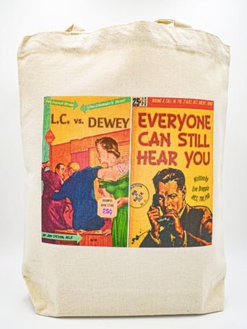 Librarian Pulp Fiction LC vs Dewey Everyone can still hear you Tote bag book bag