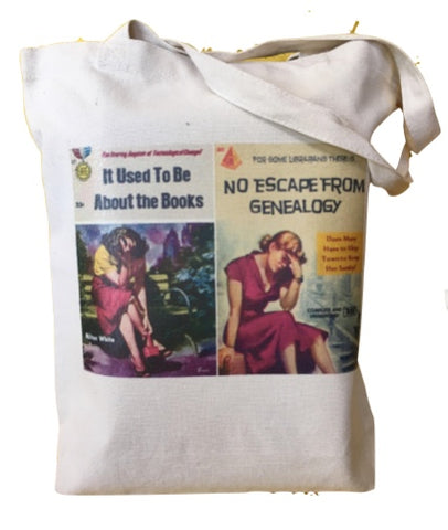 Librarian Pulp Fiction - It Used to be about the Books, No Escape from Genealogy Tote Bag