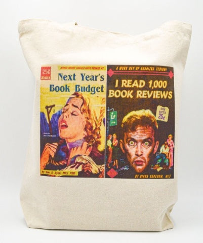 Librarian Pulp Fiction Next Year's Book Budget I read 1000 Book Reviews Tote bag Book bag