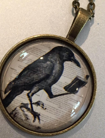 Raven Reading a Book - Pendant Necklace