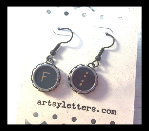 Vintage Typewriter Key Earrings - letter F and semicolon
