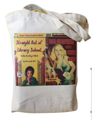 Librarian Pulp Fiction - Straight out of Library School & Surprise in the Book Drop Tote Bag