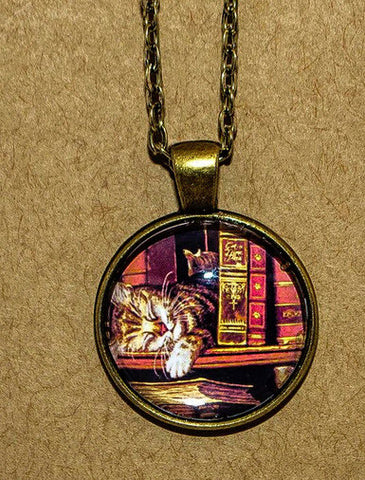 Cat with Books Pendant Necklace