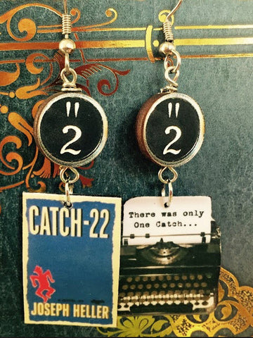 Catch-22 Typewriter Book Earrings