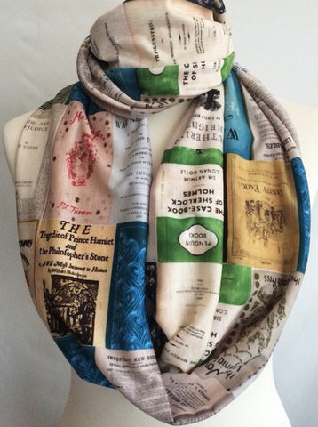 Classic vintage novels infinity scarf