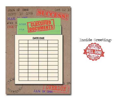 Classified Documents! Library card greeting card