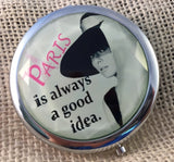 Paris is always a good idea - Audrey Hepburn Compact Mirror