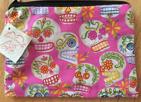 Day of the Dead pink medium zippered bag