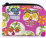 Day of the Dead fabric coin purse - pink or blue