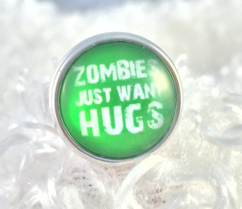 Zombies Just Want Hugs Snap Button