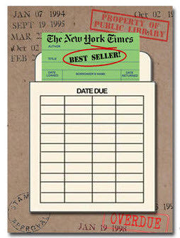 New York times Best Seller Library Card Greeting Card