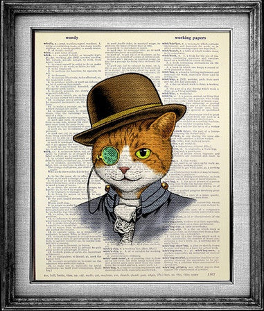 Dapper Kitty Cat Dictionary Art Print