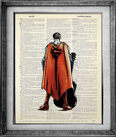 Superman with Guitar Dictionary Print