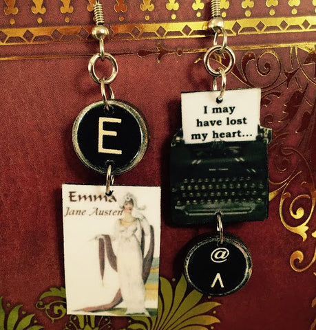 Emma Typewriter Book Earrings