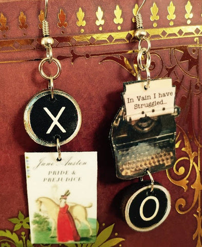 Pride & Prejudice Typewriter Book Earrings