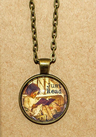 Just Read - Little girl reading Pendant Necklace