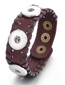 Leather Snap button Bracelet woven edge style - 3 snaps