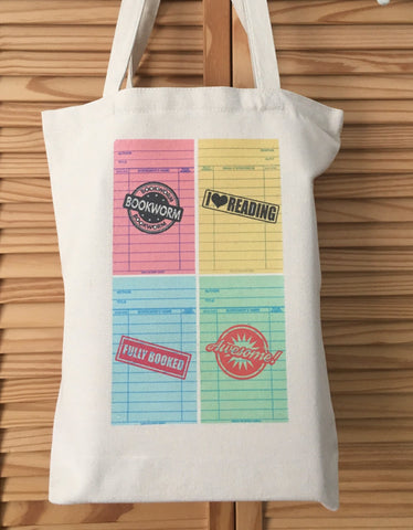 Retro Library Cards Tote Bag Book bag